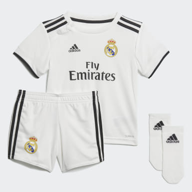 Kinderen Voetbal Wit Real Madrid Thuistenue Peuters