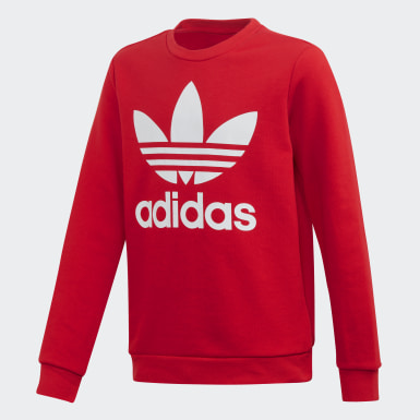 Kids Originals Red Trefoil Crew Sweatshirt