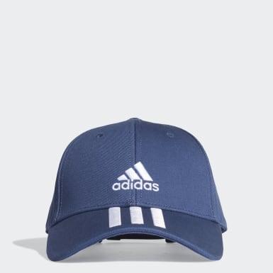 Tennis Baseball 3-Streifen Twill Kappe Blau