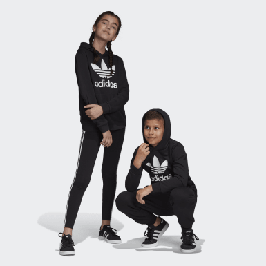 Youth 8-16 Years Originals Black Trefoil Hoodie