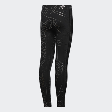 Youth Training Black Print Allover Print Tights