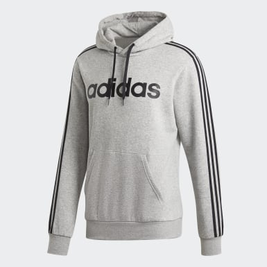 Men's Essentials Grey Essentials 3-Stripes Pullover Hoodie