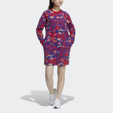 Women's Athletics Red LNY Allover Print Sweater Dress