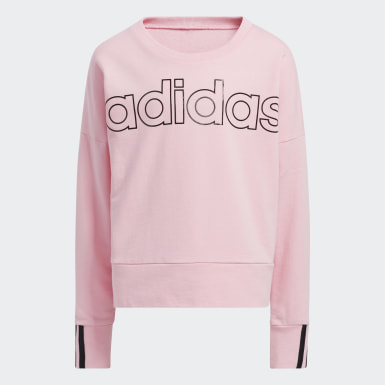 Youth Training Pink 3-Stripes Pullover Sweatshirt
