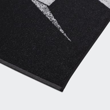 Schwimmen Graphic Cotton Handtuch Schwarz