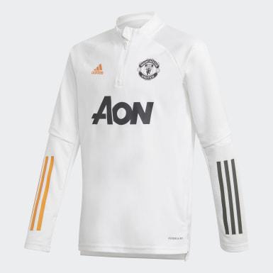 Sudadera entrenamiento Manchester United Blanco Niño Fútbol