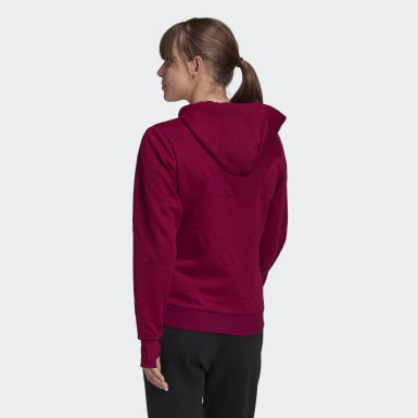 Felpa con cappuccio AEROREADY Jacquard Full-Zip Logo Bordeaux Donna Athletics