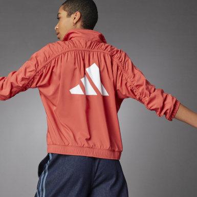 Women Training Red 3 Bar Logo Warm-Up Sports Jacket