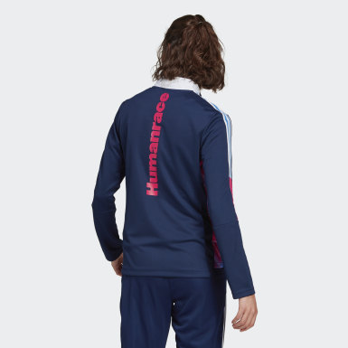 Women Football Blue Human Race Track Jacket