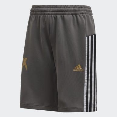 Shorts Inspirado Futebol X AEROREADY Cinza Meninos Training