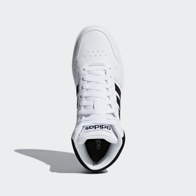 Men Essentials White Hoops 2.0 Mid Shoes