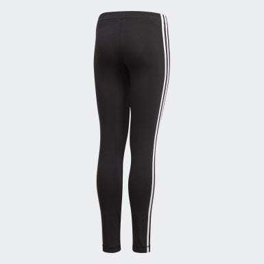Mädchen Athletics Essentials 3-Streifen Tight Schwarz