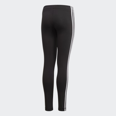 Girls Athletics Black Essentials 3-Stripes Tights