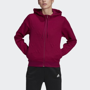 Kadın Athletics Bordo AEROREADY Jacquard Full-Zip Logo Kapüşonlu Üst
