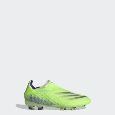 Kids Football Green X Ghosted+ Firm Ground Boots