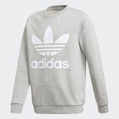 Kids Originals Grey Trefoil Crew Sweatshirt