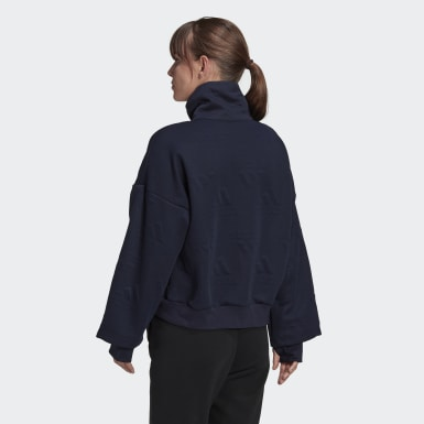 Sweat-shirt demi-zip AEROREADY Logo Jacquard bleu Femmes Athletics
