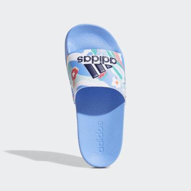 Sandale Adilette Shower Bleu Enfants Natation