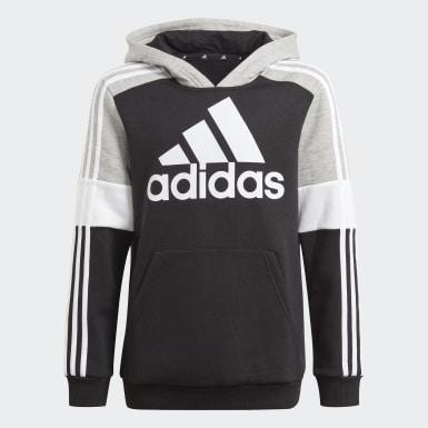 Kids Athletics Black adidas Essentials Colorblock Hoodie (Gender Neutral)