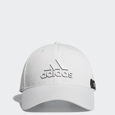 ผู้ชาย กอล์ฟ สีขาว หมวกแก๊ป Tape Motif