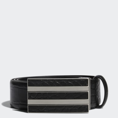 Men Golf Black 3-Stripes Chrome Leather Belt