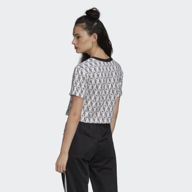Frauen Originals adidas Cropped T-Shirt Schwarz
