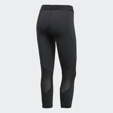 Women Trail Running Black Alphaskin Sport 3/4 Leggings