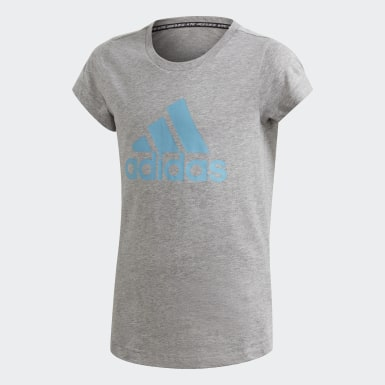 Girls Training Grey Must Haves Badge of Sport Tee