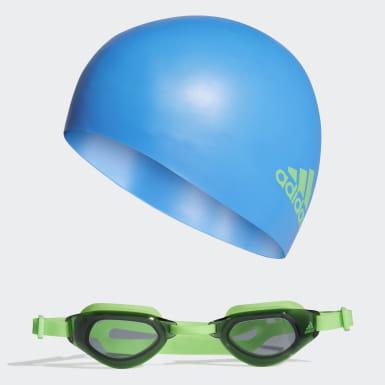 Genç Yüzme Mavi Swim Bone ve Yüzücü Gözlüğü Seti