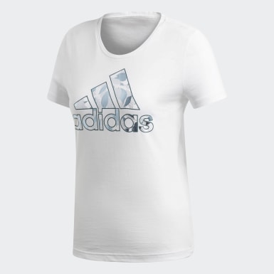 Frauen Athletics Foil Badge of Sport T-Shirt Weiß