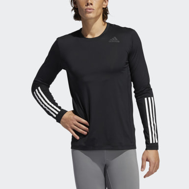 Men Cross Training Black Techfit 3-Stripes Fitted Long-Sleeve Top Long-Sleeve Top