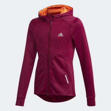 Girls Træning Burgundy AEROREADY Full-Zip hættetrøje