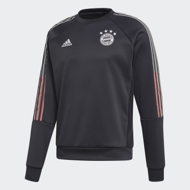Men Football Grey FC Bayern Travel Crew Sweatshirt