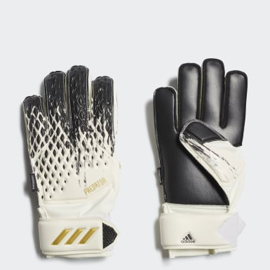 Kids Football White Predator 20 Match Fingersave Goalkeeper Gloves