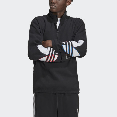 Erkek Originals Siyah Adicolor Tricolor Polar Fleece Half-Zip Sweatshirt
