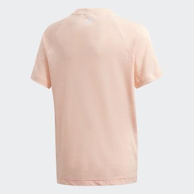 เด็ก Originals สีชมพู เสื้อยืดโลโก้ Trefoil ขนาดใหญ่