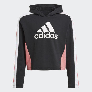 Girls Training Black Colorblock Crop Top Tracksuit