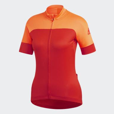 Women Cycling Orange Rad Trikot Jersey