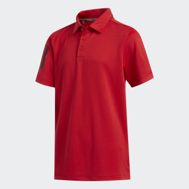 Youth Golf Red 3-Stripes Polo Shirt