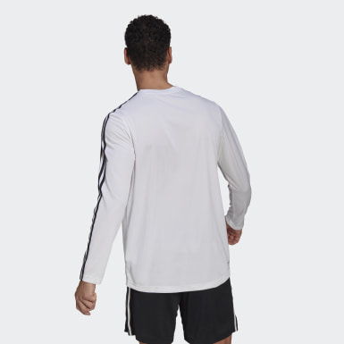 Playera adidas Designed To Move Aeroready 3 Franjas Blanco Hombre Training
