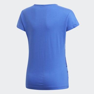 Girls Athletics Blå Linear Print T-shirt