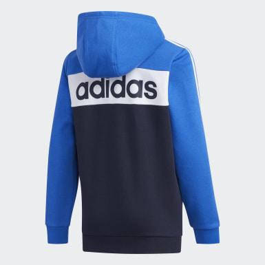 Casaca Deportiva con capucha Colorblock Azul Niño Training
