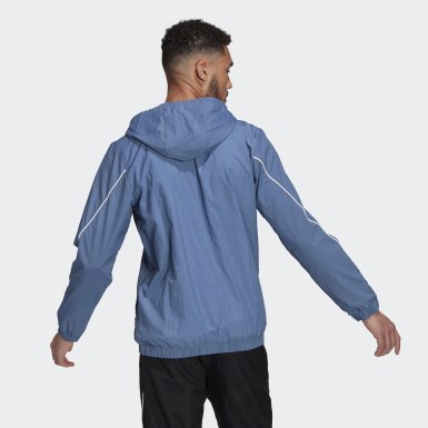 Men Sport Inspired Blue Essentials Giant Logo Windbreaker