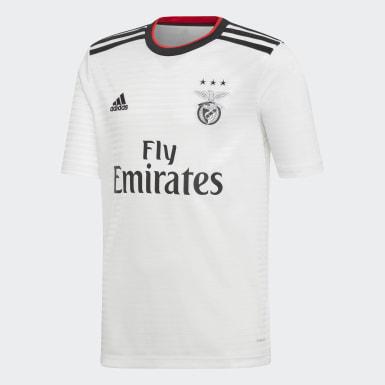 Camisola Alternativa do Benfica Branco Rapazes Futebol