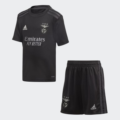 Kids 4-8 Years Football Black Benfica Away Mini Kit