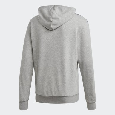 Men's Training Grey Essentials 3-Stripes Hoodie