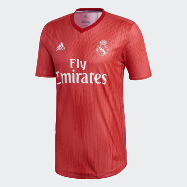 Men Football Red Real Madrid Authentic Third Jersey