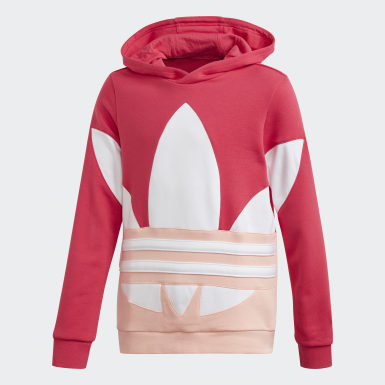 Girls Originals Pink Large Trefoil Hoodie