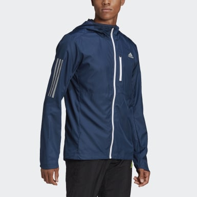 Men Running Blue Own the Run Hooded Wind Jacket