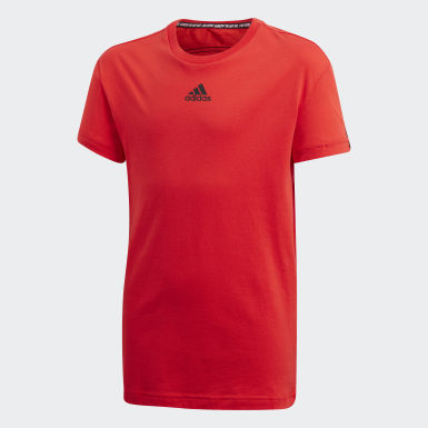 Playera Must Haves 3 Franjas Rojo Niño Training